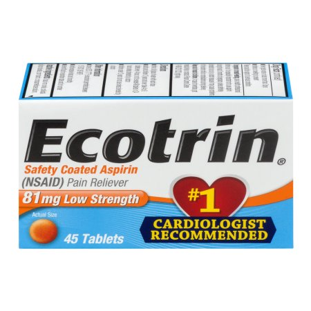 Ecotrin 81 mg Low Strength Safety Coated Aspirin (NSAID) - 45 Tablets